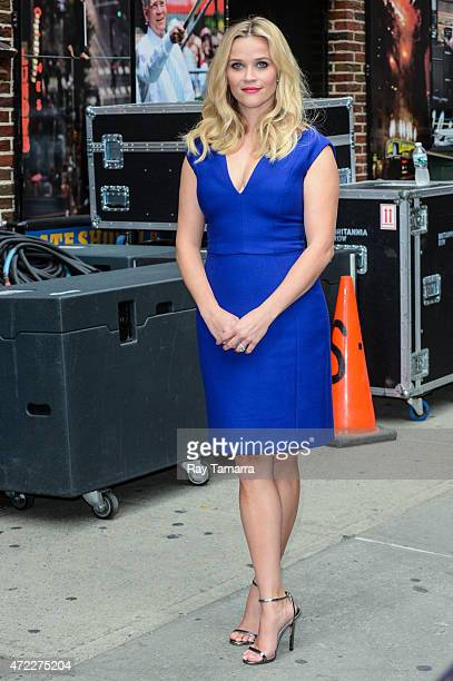 Actress Reese Witherspoon leaves the Late Show With David Letterman taping at the Ed Sullivan Theater on May 5 2015 in New York City