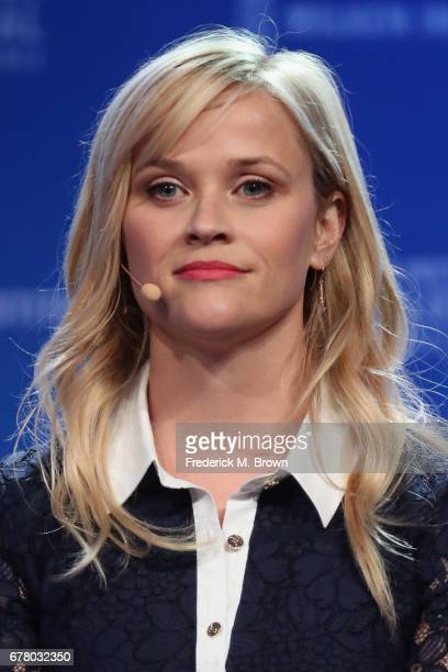 Actress Reese Witherspoon speaks during the Milken Institute Global Conference 2017 at The Beverly Hilton Hotel on May 3 2017 in Beverly Hills...