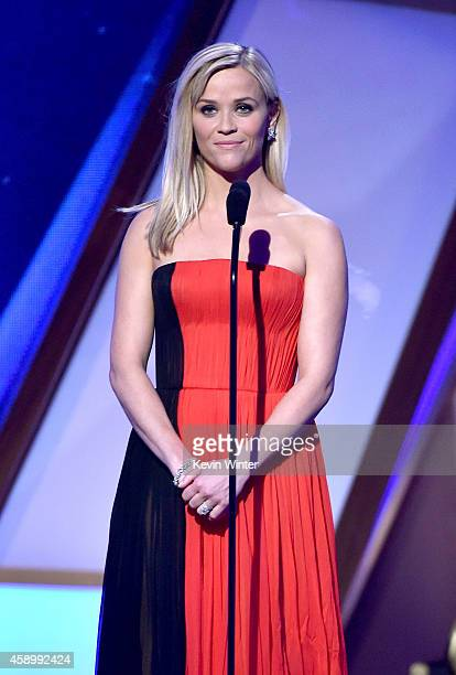 Actress Reese Witherspoon speaks onstage during the 18th Annual Hollywood Film Awards at The Palladium on November 14 2014 in Hollywood California