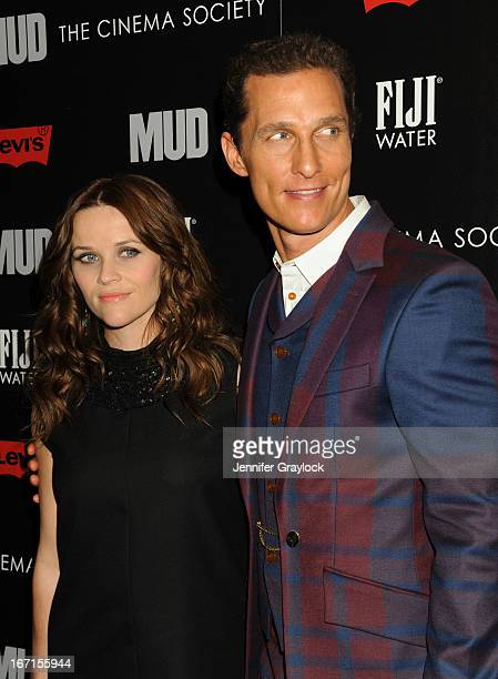 Actress Reese Witherspoon wearing YSL Actor Matthew McConaughey attend The Cinema Society Screening Of Mud hosted by Fiji Water and Levis held at The...