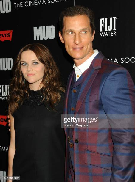 Actress Reese Witherspoon wearing YSL and Actor Matthew McConaughey attends The Cinema Society Screening Of Mud hosted by Fiji Water and Levis held...