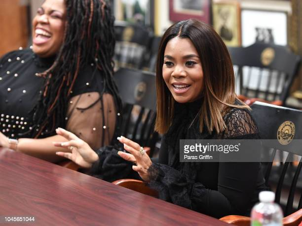 Actress Regina Hall interviews with student journalists at 'The Hate U Give' Atlanta University Center press junket at Morehouse College Martin...