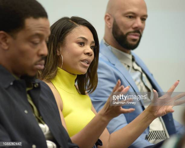 Actress Regina Hall joins castmates Russell Hornsby and Common from the upcoming motion picture 'The Hate You Give' in a discussion on race as a part...