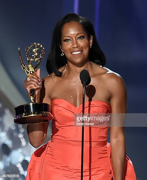Actress Regina King accepts Outstanding Supporting Actress in a Limited Series or Movie for 'American Crime' onstage during the 68th Annual Primetime...