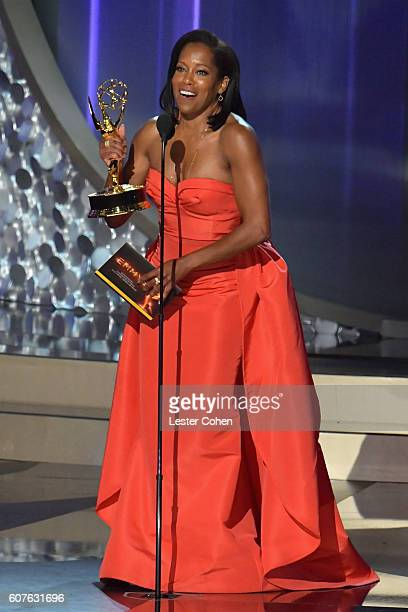 Actress Regina King accepts the Outstanding Supporting Actress in a Limited Series or Movie award for 'American Crime' onstage during the 68th Annual...