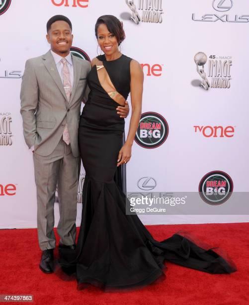 Actress Regina King and son Ian Alexander Jr. Arrive at the 45th NAACP Image Awards at Pasadena Civic Auditorium on February 22, 2014 in Pasadena,...