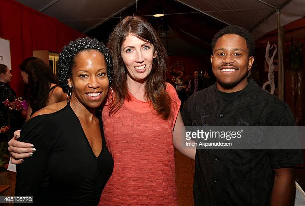 Actress Regina King and son Ian Alexander Jr attend the GRAMMY Gift Lounge during the 56th Grammy Awards at Staples Center on January 25 2014 in Los...