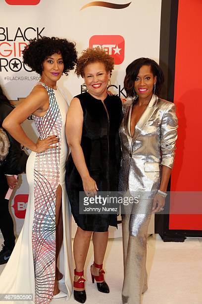 Actress Regina King, CEO of BET Networks Debra Lee, and actress Tracee Ellis Ross attend Black Girls Rock! 2015 at NJ Performing Arts Center on March...