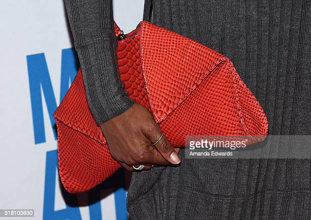Actress Regina King clutch detail arrives at the premiere of Sony Pictures Classics' Miles Ahead at the Writers Guild Theater on March 29 2016 in...