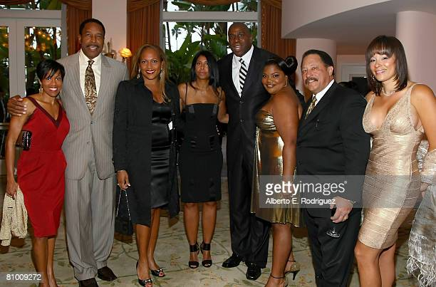 Actress Regina King former MLB player Dave Winfield his wife Tonya Turner Cookie Johnson former NBA player Earvin 'Magic' Johnson comedian Mo'Nique...
