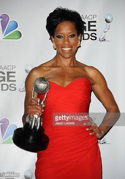 Actress Regina King poses in the press room at the 43rd annual NAACP Image Awards at The Shrine Auditorium on February 17 2012 in Los Angeles...