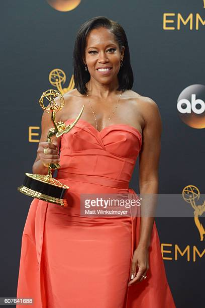Actress Regina King winner of Outstanding Supporting Actress in a Limited Series or Movie for 'American Crime' poses during the 68th Annual Primetime...
