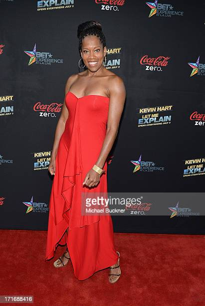 Actress Regina Kingarrives at the premiere of Summit Entertainment and Code Black Film's 'Kevin Hart Let Me Explain' at Regal Cinemas LA Live on June...