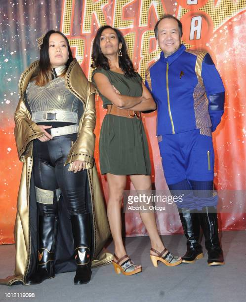 Actress Rehka Sharma poses with cosplayer David Cheng attend Day 4 of Creation Entertainment's 2018 Star Trek Convention Las Vegas at the Rio Hotel...