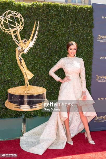Actress Reign Edwards arrives at the 44th Annual Daytime Emmy Awards at Pasadena Civic Auditorium on April 30 2017 in Pasadena California
