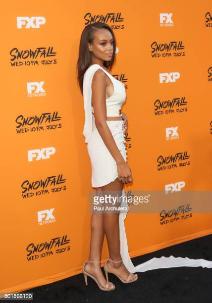 Actress Reign Edwards attends the premiere of FX's 'Snowfall' at The Theatre at Ace Hotel on June 26 2017 in Los Angeles California