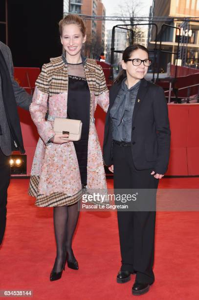 Actress Reka Tenki and director Ildiko Enyedi attend the 'On Body and Soul' premiere during the 67th Berlinale International Film Festival Berlin at...
