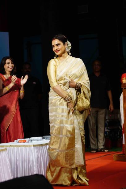 Actress Rekha at Smita Patil`s Memorial Award ceremony Shah at Dinanath Mangeshkar Natyagriha Near Vile Parle Railway Station on December 16 2017 in..