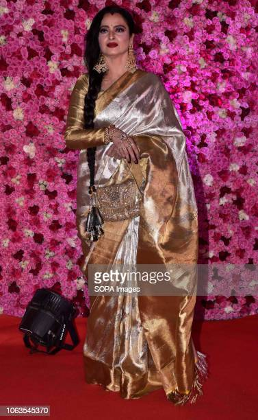 Actress Rekha seen on the red carpet during the LUX GOLDEN ROSE Awards 2018 at the NCSI Dome, Worli in Mumbai.