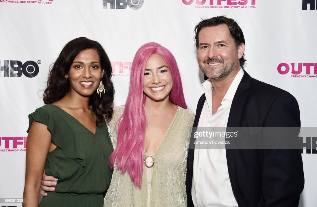 Actress Rekha Sharma and directors Amara Cash and James Kerwin arrive at the 2018 Outfest Los Angeles premiere of `Daddy Issues` at the DGA Theater...