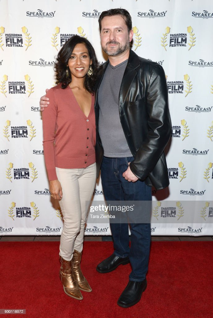 Actress Rekha Sharma and writer James Kerwin attend Pasadena International Film Festival `Buckout Road` premiere at Laemmle Playhouse 7 on March 9...