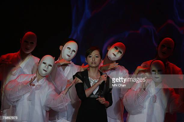 Actress Rene Liu performs at the 26th Hong Kong Film Awards at the Hong Kong Cultural Centre on April 15 2007 in Hong Kong China