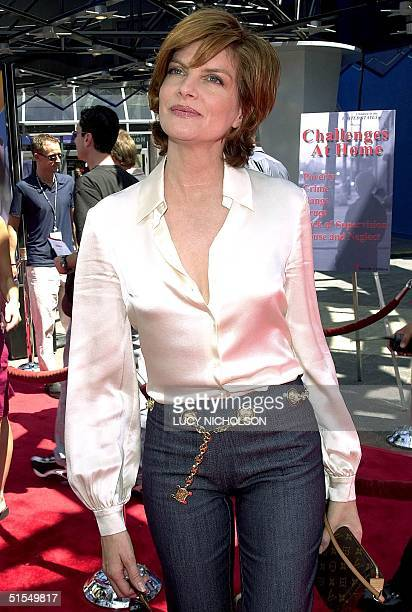 US actress Rene Russo arrives at the premiere of her new film The Adventures of Rocky and Bullwinkle at Universal Studios 24 June 2000 The film is a...