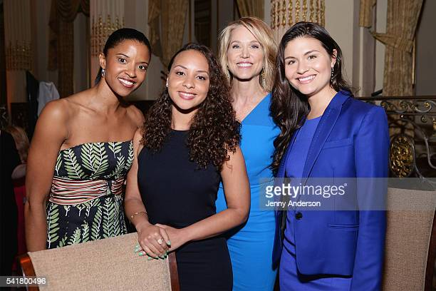 Actress Renee Elise Goldsberry actress Jasmine Cephas Jones journalist Paula Zahn and actress Phillipa Soo attend The 6th Annual Elly Awards at The...