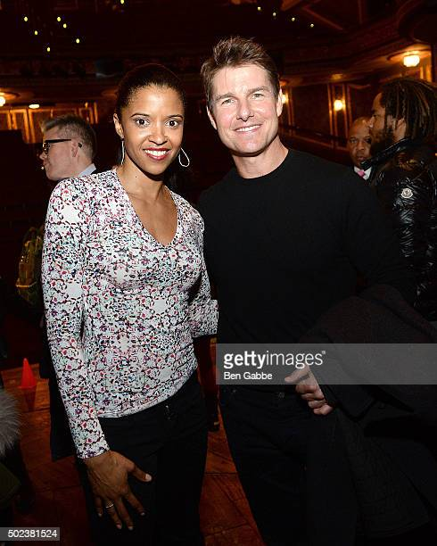 Actress Renee Elise Goldsberry and actor Tom Cruise attend Broadway's 'Hamilton' at Richard Rodgers Theatre on December 23 2015 in New York City