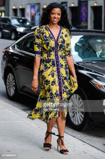 Actress Renee Elise Goldsberry enters the 'The Late Show With Stephen Colbert' taping at the Ed Sullivan Theater on April 20 2017 in New York City