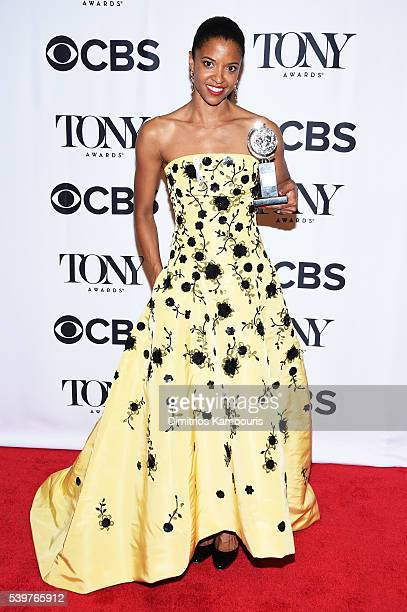 Actress Renee Elise Goldsberry poses with her award for Best Performance by an Actress in a Featured Role in a Musical for Hamilton during the 70th...