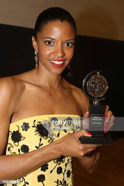 Actress Renee Elise Goldsberry poses with her award for Best Performance by an Actress in a Featured Role in a Musical for 'Hamilton' during the 70th...