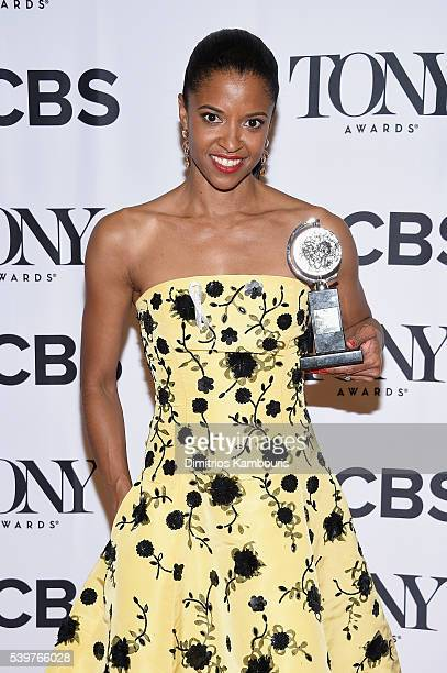 Actress Renee Elise Goldsberry poses with the award for Best Performance by a Featured Actress in a Musical during the 70th Annual Tony Awards at The...