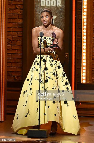 Actress Renee Elise Goldsberry speaks onstage to accept the award for Best Performance By An Actress In a Featured Role In a Musical for her work in...