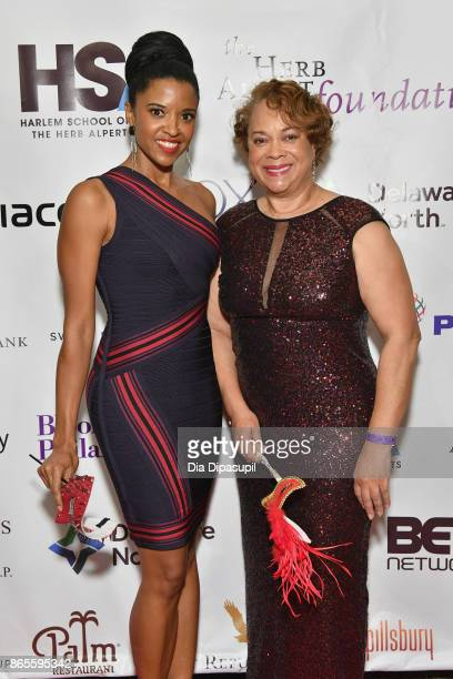 Actress Renee Goldsberry and guest attend HSA Masquerade Ball on October 23 2017 at The Plaza Hotel in New York City
