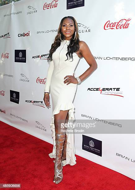 Actress Renee Knorr attends the Accelerate4Change charity event presented by Dr Ben Talei Cinemoi on August 29 2015 in Beverly Hills California