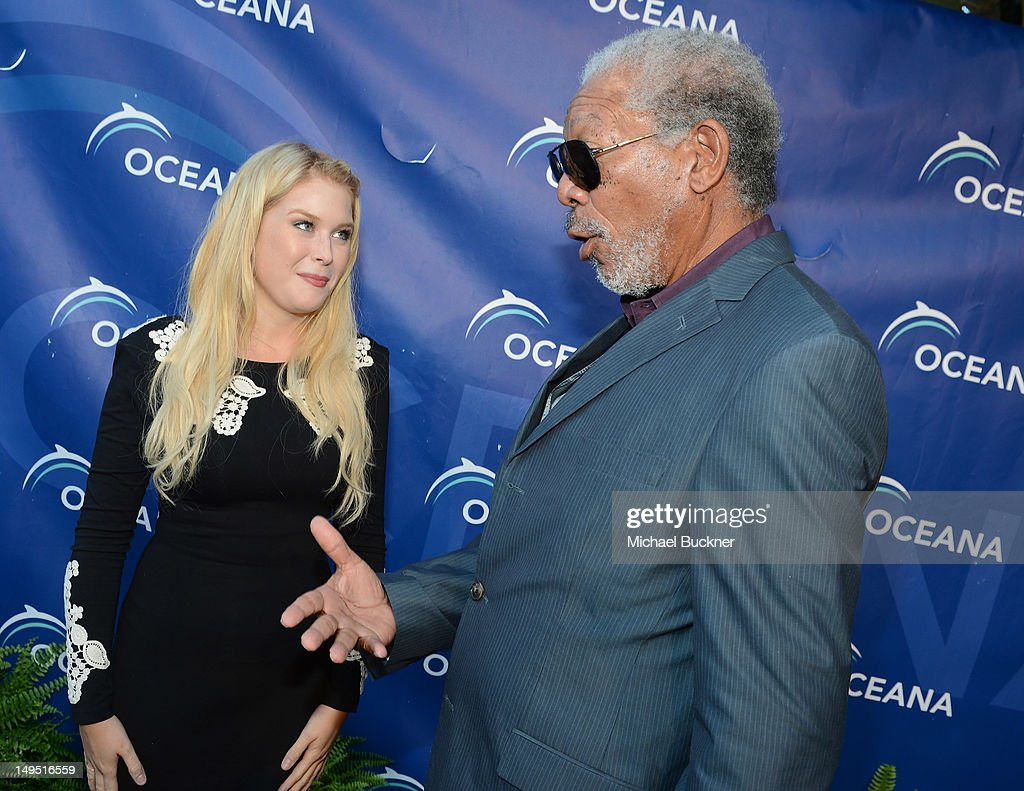 Actress Renee Olstead (L) and actor Morgan Freeman arrive at the 2012 Oceana's SeaChange Party at a private residence on July 29, 2012 in Laguna Beach, California.