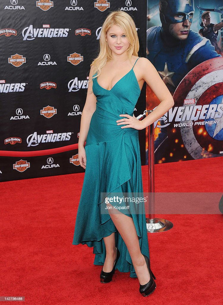 Actress Renee Olstead arrives at the Los Angeles Premiere of 'The Avengers' at the El Capitan Theatre on April 11, 2012 in Hollywood, California.