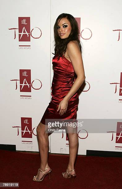 Actress Renee Perez arrives at a naughty night to remember at TAO Nightclub at The Venetian Hotel and Casino Resort on January 12 2008 in Las Vegas...