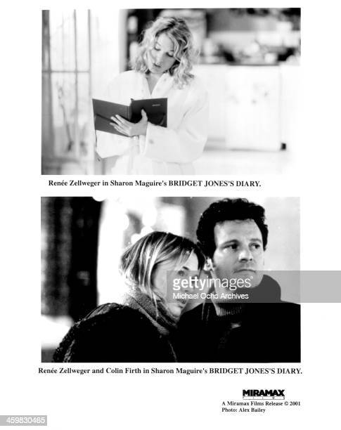 """Actress Renee Zellweger and actor Colin Firth on set of the movie """"Bridget Jones's Diary"""" , circa 2001."""