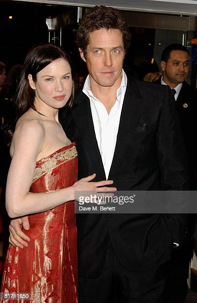 Actress Renee Zellweger and actor Hugh Grant arrive at the UK Gala Premiere of Bridget Jones The Edge Of Reason at the Odeon Leicester Square on...
