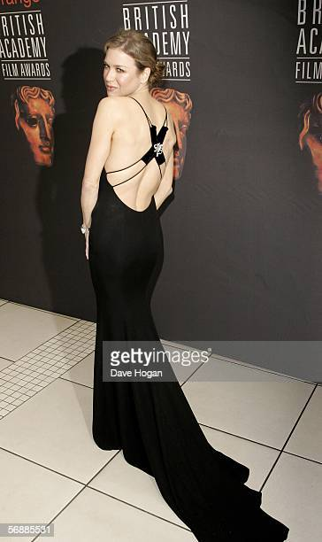Actress Renee Zellweger arrives at The Orange British Academy Film Awards at the Odeon Leicester Square on February 19 2006 in London England