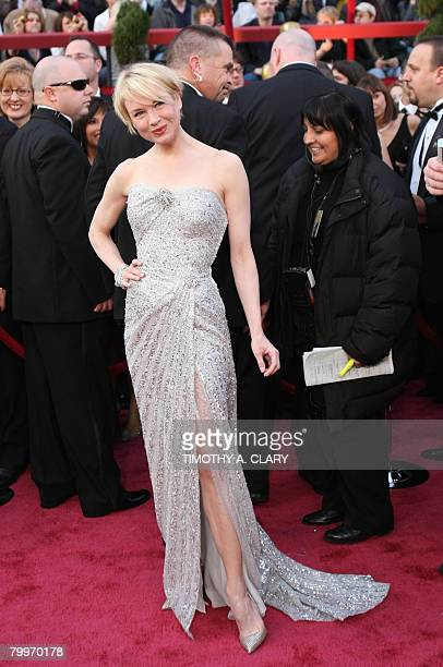Actress Renee Zellweger arrives for the 80th Annual Academy Awards at the Kodak Theater in Hollywood California on February 24 2008 AFP PHOTO /...