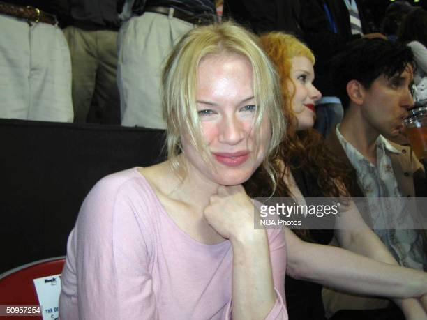 Actress Renee Zellweger attends game four of the 2004 NBA Finals between the Detroit Pistons and the Los Angeles Lakers June 13 2004 at the Palace of...