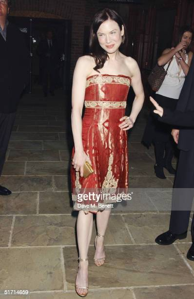 Actress Renee Zellweger attends the aftershow party following the UK Gala Premiere of 'Bridget Jones The Edge Of Reason' at Tobacco Dock on November...