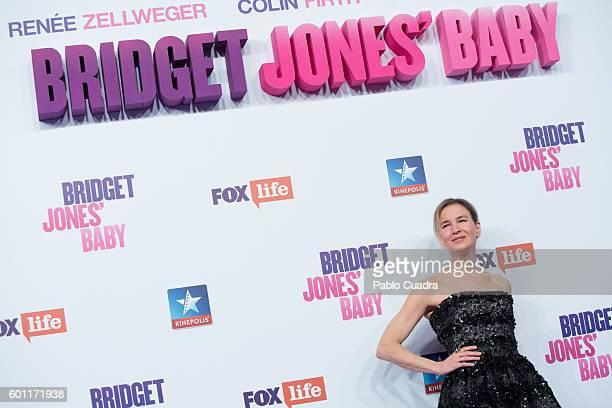 Actress Renee Zellweger attends the 'Bridget Jones' Baby' premiere at Kinepolis Cinema on September 9 2016 in Madrid Spain
