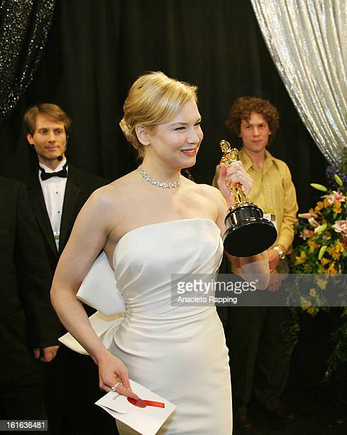 Actress Renee Zellweger is photographed backstage after winning the Oscar for Best Supporting Actress in Cold Mountain at the 76th Annual Academy...