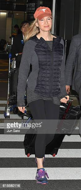Actress Renee Zellweger is seen upon arrival at Narita International Airport on October 19 2016 in Narita Japan