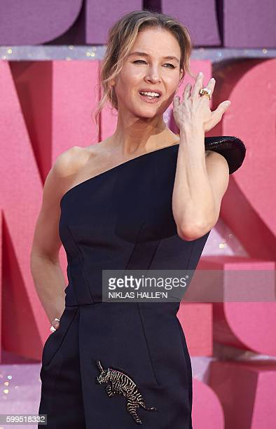 US actress Renee Zellweger poses on the red carpet as they arrive to attend the World Premiere of the film 'Bridget Jones's Baby' in central London...