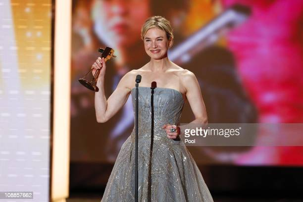 Actress Renee Zellweger poses with her award during the 46th Golden Camera awards at the Axel Springer Haus on February 5 2011 in Berlin Germany